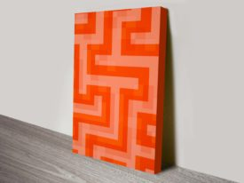 Red Meander Canvas Abstract Wall Art Print