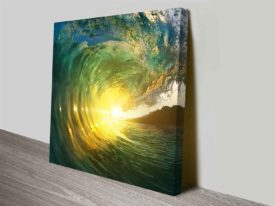 Breaking Waves Series No. 3 Sunset Ready to Hang Canvas Art Print