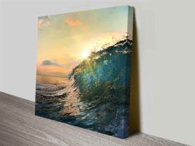 Breaking Waves Series No. 7 Peach Sky Ready to Hang Canvas Wall Art