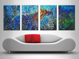 Lobo Del Cielo 4 Panel Iris Scott Stretched Canvas