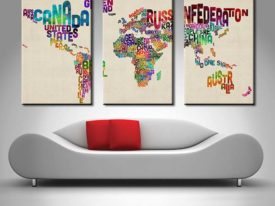text map of the world 3 panel wall art canvas
