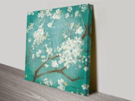White Cherry Blossoms on Blue Prints