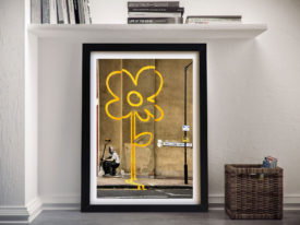 Yellow Line Man Banksy Framed Wall Art
