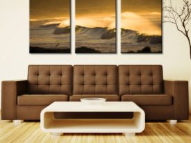 Yellow Ocean Sunset 3 Panel