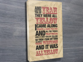 coldplay yellow lyrics wall art