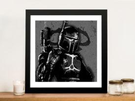 Boba Fett-black white Framed Wall Art
