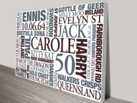 Earth Tones Personalised Canvas Wall Art