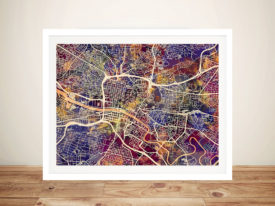 Glasgow Street Map Framed Picture Art