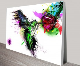 hummingbird abstract canvas print