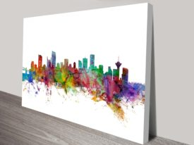 Vancouver Watercolour Skyline by Michael Tompsett Ready to Hang Art
