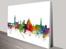 Florence City Skyline by Michael Tompsett Italy Cityscape Canvas Wall Art