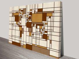 World Map Abstract Mondrian Style Wall Art