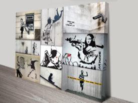 mono colour collage banksy canvas