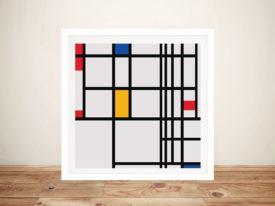 Piet Mondrian Red Blue and yellow Modern Framed Wall Art