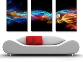 fire ice abstract triptych canvas print