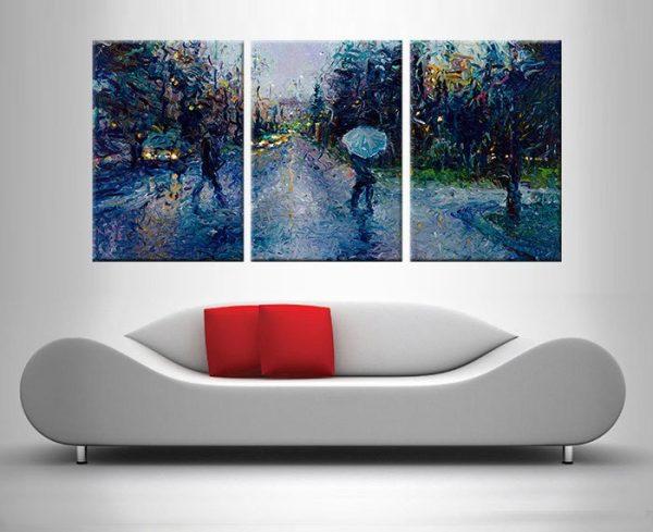 Slippery Sidewalk and a Seattle Stroll Triptych Wall Art Print