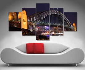 sydney harbour at night 5 panel wall art canvas print