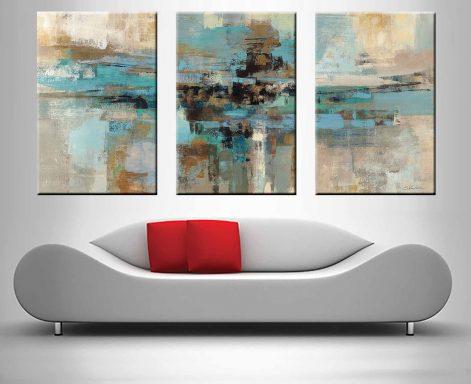 Morning Fjord Silvia Vassileva Triptych Abstract Wall Art