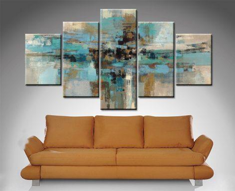 Morning Fjord 5-Panel Abstract Wall Art