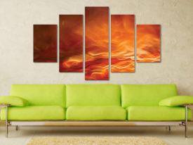 Burning Water 5 Piece Artwork Canvas Art Prints