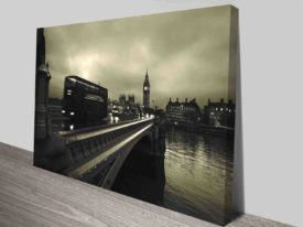Swedish Bridge Over River Modern Art Canvas