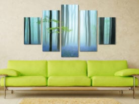 The Blue Forest Five Panel Canvas Art For Sale