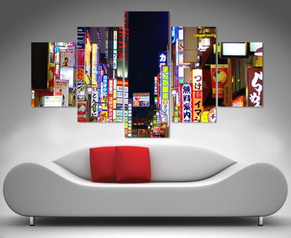 tokyo nights 5 panel wall art canvas print