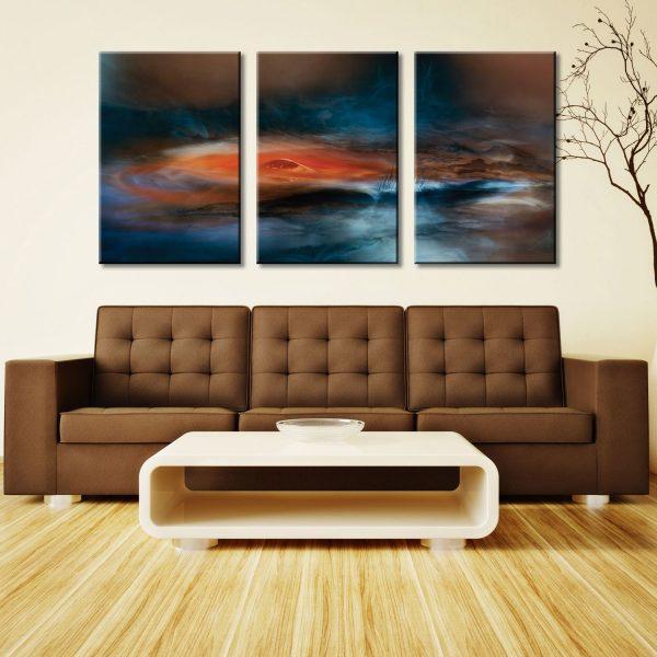 Fantasy Lake Triptych Three Panel Canvas Art Prints