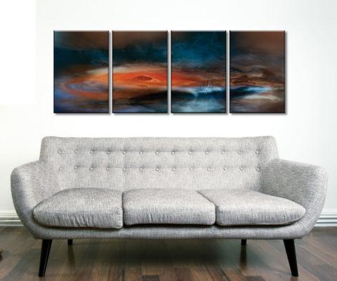 Fantasy Lake Four Panel Art On Canvas