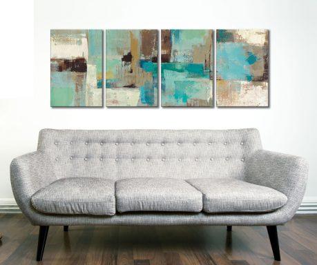 Teal and Aqua Reflections 4 Piece Artwork
