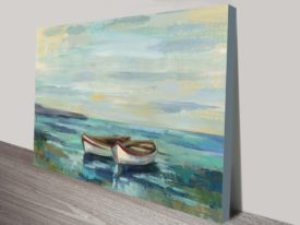 Boats at the Beach painting print on canvas