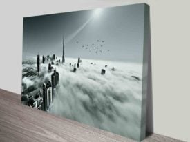 foggy city architecture photograph to print
