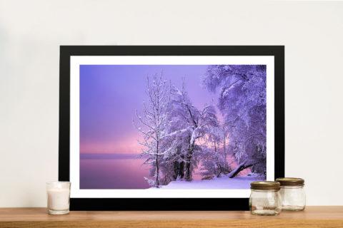 Snowy Lake Sunset Canvas Wall Art Prints