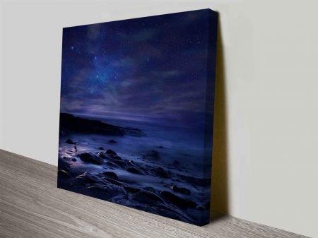 midnight ocean wall art canvas print
