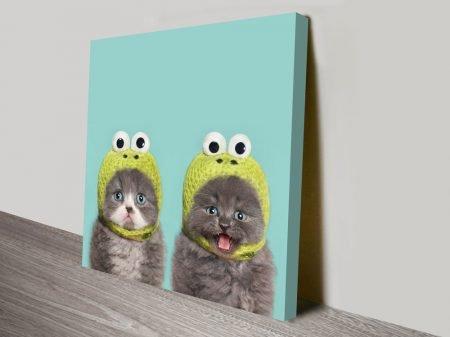2 Cats in a Hat Cute Kitten Wall Art