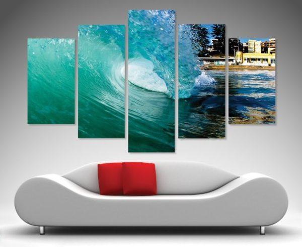 Surf Art 5 split panel canvas