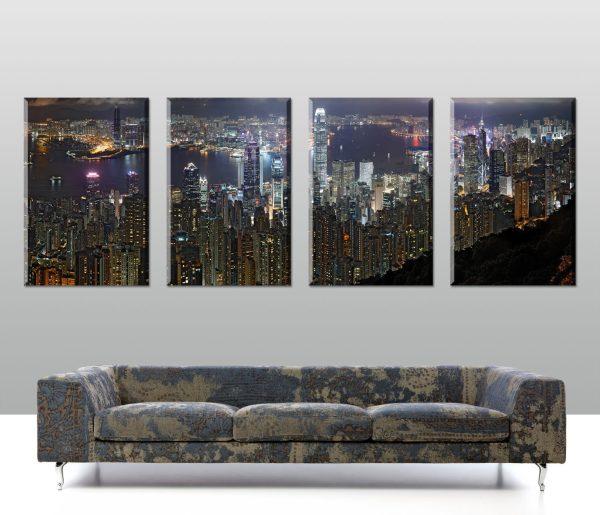 hong kong 4 panel split-canvas wall prints