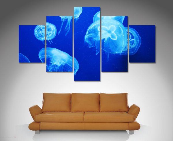 blue jelly fish 4 split canvas art