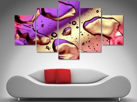 abstract 5 panel split canvas art