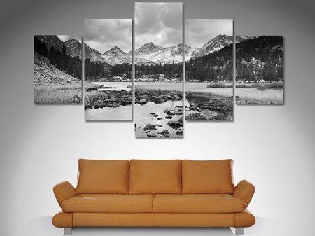 Mountain stream 5 panel art set