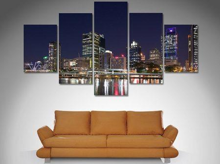 Brisbane City Night 5 panel art