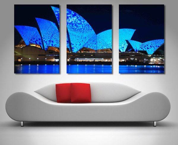 Opera House Lights triptych wall art