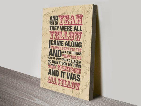 Buy Coldplay Yellow Framed Lyrics Wall Art