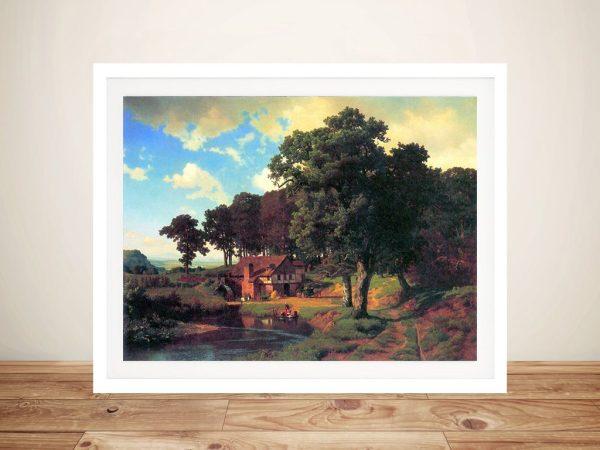 Buy Bierstadt's A Rustic Mill Framed Canvas Art