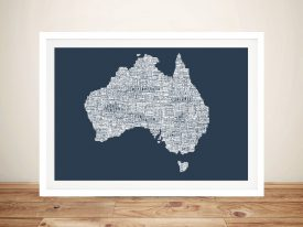 Australia Type Map Framed Picture
