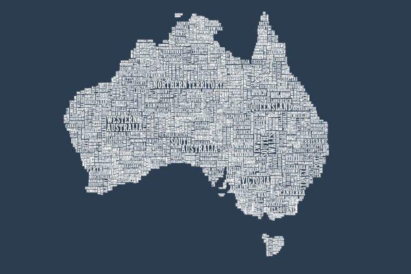 Australia Type Map Picture Artwork