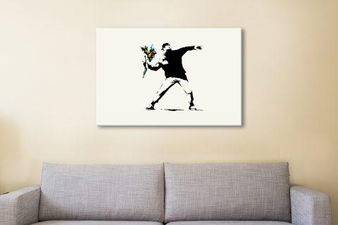 Flower Thrower Banksy Canvas Artwork