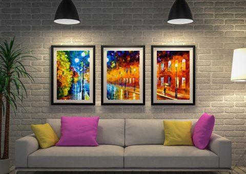 Buy Blue Lights Triptych Art by Leonid Afremov