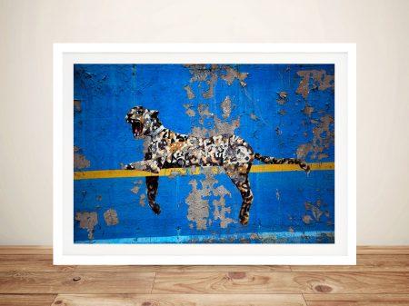 Banksy Bronx Zoo Graffiti Leopard Framed Wall Art