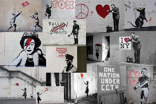 Banksy Red Collage Canvas print